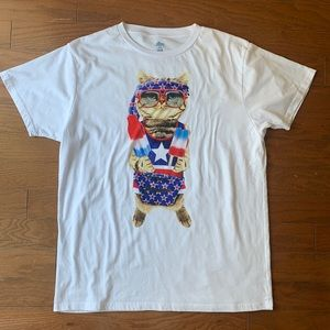 July 4th Independence Day Party Cat T-Shirt XL